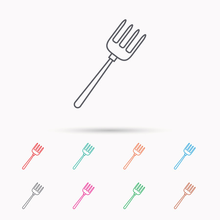 pitchfork: Pitchfork icon. Agriculture sign symbol. Linear icons on white background. Illustration