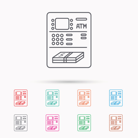 withdrawal: ATM icon. Automatic cash withdrawal sign. Linear icons on white background.