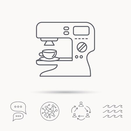 sign maker: Coffee maker icon. Hot drink machine sign. Global connect network, ocean wave and chat dialog icons. Teamwork symbol.