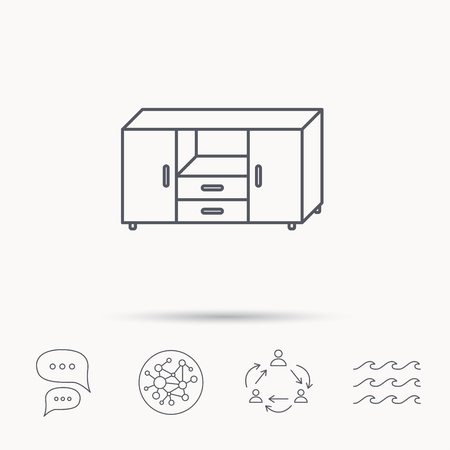 commode: Chest of drawers icon. Interior commode sign. Global connect network, ocean wave and chat dialog icons. Teamwork symbol.