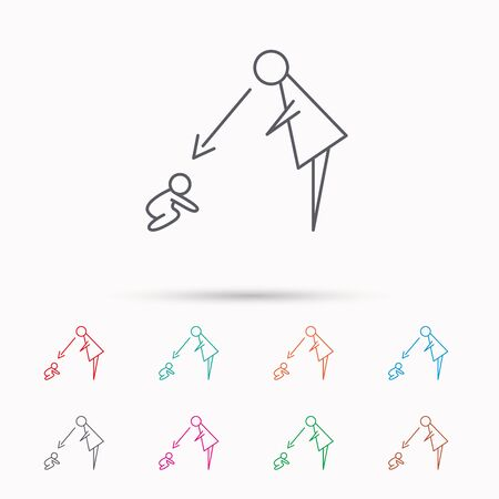 supervision: Under nanny supervision icon. Babysitting care sign. Mother watching baby symbol. Linear icons on white background.