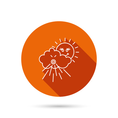 the tempest: Wind icon. Cloud with sun and storm sign. Strong wind or tempest symbol. Round orange web button with shadow. Illustration