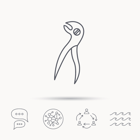 anesthesia: Dental pliers icon. Stomatological forceps tool sign. Global connect network, ocean wave and chat dialog icons. Teamwork symbol.