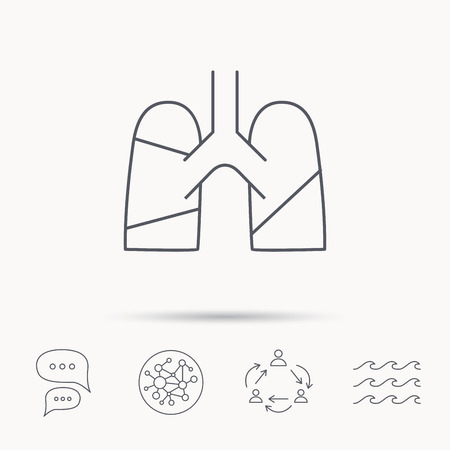 sickness: Lungs icon. Transplantation organ sign. Pulmology symbol. Global connect network, ocean wave and chat dialog icons. Teamwork symbol.