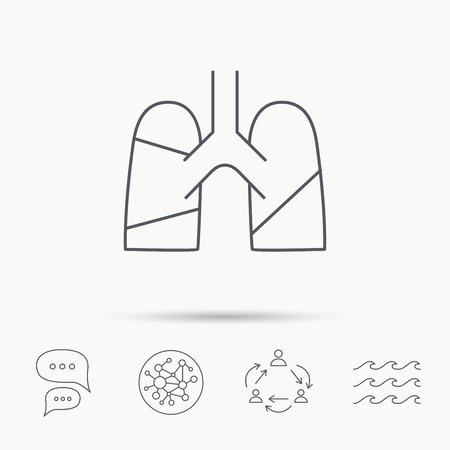 transplantation: Lungs icon. Transplantation organ sign. Pulmology symbol. Global connect network, ocean wave and chat dialog icons. Teamwork symbol.
