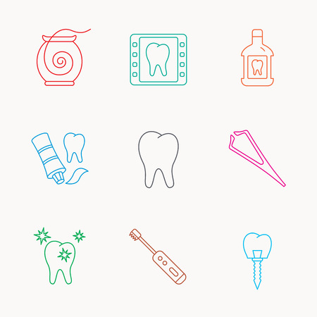 mouthwash: Dental floss, tooth and implant icons. Mouthwash, x-ray and toothpaste linear signs. Electric toothbrush. Linear colored icons.