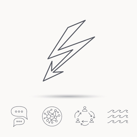 lightening: Lightening bolt icon. Power supply sign. Electricity symbol. Global connect network, ocean wave and chat dialog icons. Teamwork symbol.