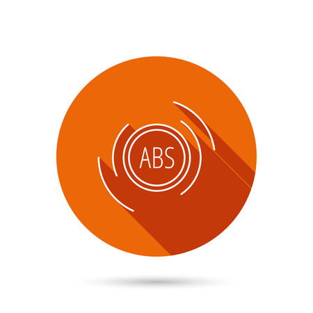 malfunction: ABS icon. Brakes antilock system sign. Round orange web button with shadow.