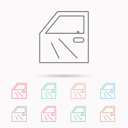 overhaul: Car door icon. Automobile lock sign. Linear icons on white background.