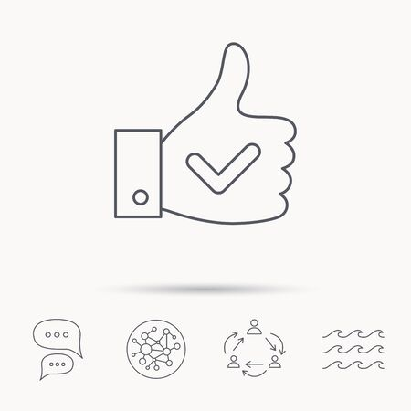 Thumb up like icon. Super cool vote sign. Social media symbol. Global connect network, ocean wave and chat dialog icons. Teamwork symbol.