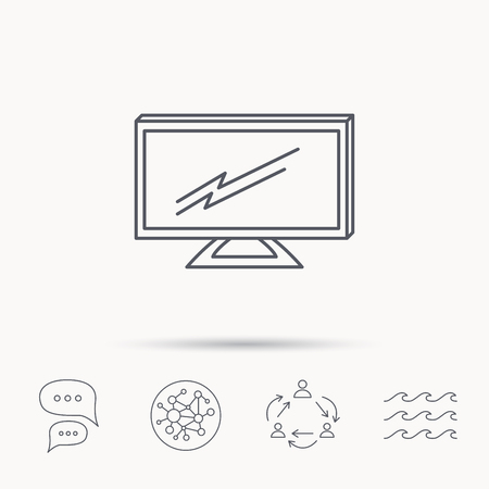 lcd: Lcd tv icon. Led monitor sign. Widescreen display symbol. Global connect network, ocean wave and chat dialog icons. Teamwork symbol. Illustration