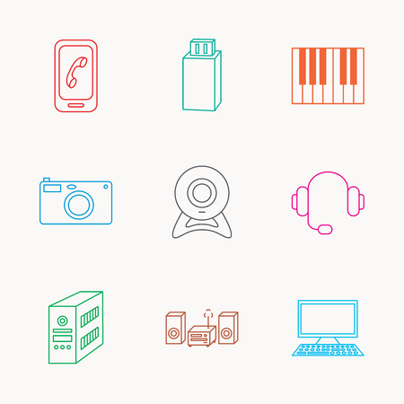 pc case: Photo camera, headphones and Usb flash icons. PC case, computer with monitor and web camera linear signs. Piano icons. Linear colored icons.