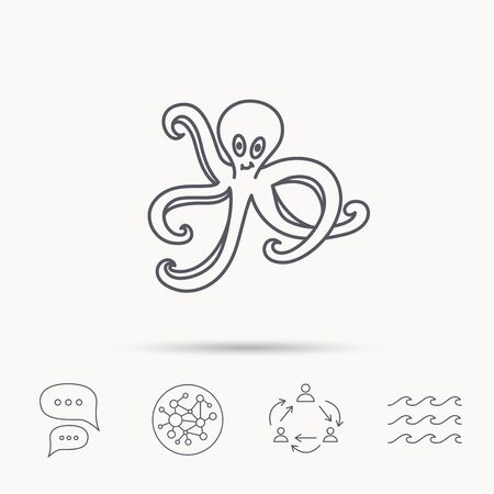 devilfish: Octopus icon. Ocean devilfish sign. Global connect network, ocean wave and chat dialog icons. Teamwork symbol.