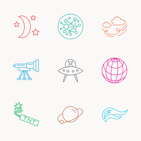 tnt: Ufo, planet and telescope icons. World, global network and night linear signs. TNT dynamite, fire flame and wind flat line icons. Linear colored icons.