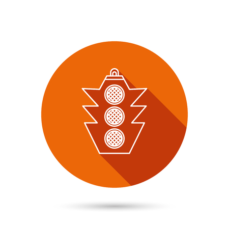 regulate: Traffic light icon. Safety direction regulate sign. Round orange web button with shadow. Illustration
