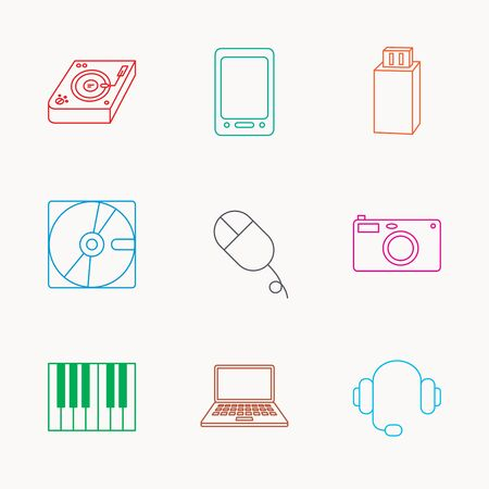usb disk: Tablet PC, USB flash and notebook laptop icons. Club music, hard disk and photo camera linear signs. Piano, headphones icons. Linear colored icons. Illustration