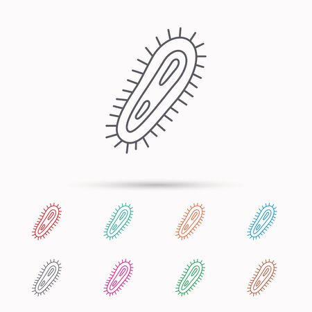 microbio: Icono de bacterias. Medicina s�mbolo infecci�n. Bacteria o signo microbio. Iconos lineales sobre fondo blanco.