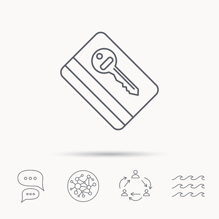 chat room: Electronic key icon. Hotel room card sign. Unlock chip symbol. Global connect network, ocean wave and chat dialog icons. Teamwork symbol. Illustration