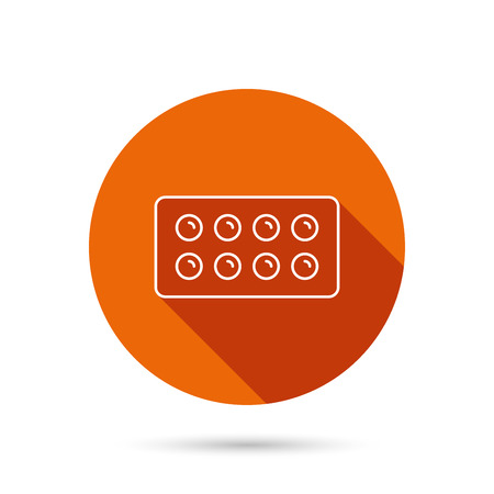 painkiller: Tablets icon. Medical pills sign. Painkiller drugs symbol. Round orange web button with shadow.