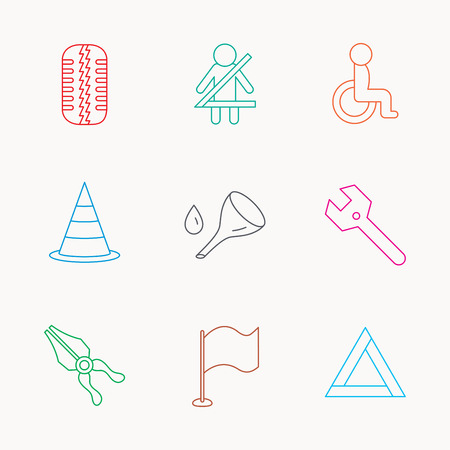 tire tread: Tire tread, traffic cone and wrench key icons. Emergency triangle, flag and pliers linear signs. Disabled person icons. Linear colored icons.