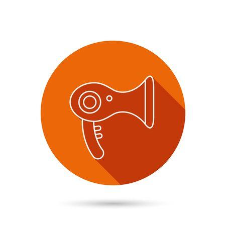 air diffuser: Hairdryer icon. Electronic blowdryer sign. Hairdresser equipment symbol. Round orange web button with shadow.