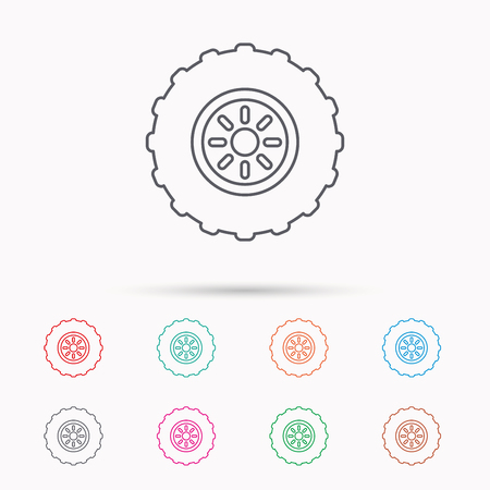 flaring: Tractor wheel icon. Tire service sign. Linear icons on white background.