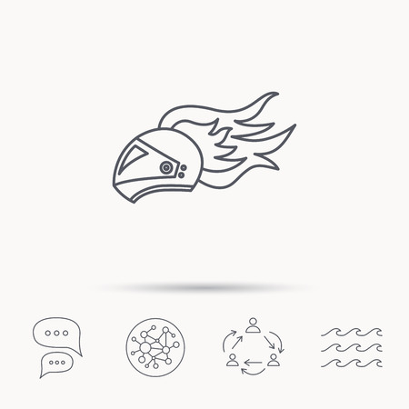 harley: Helmet on fire icon. Motorcycle sport sign. Global connect network, ocean wave and chat dialog icons. Teamwork symbol. Illustration