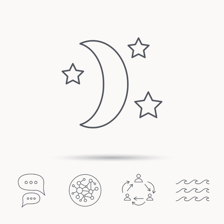 moonbeam: Night or sleep icon. Moon and stars sign. Crescent astronomy symbol. Global connect network, ocean wave and chat dialog icons. Teamwork symbol.