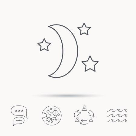 Nuit ou l'icône de sommeil. Lune et les étoiles signent. Croissant symbole de l'astronomie. Network Connect mondial, vagues de l'océan et les icônes de dialogue discuter. Symbole de travail d'équipe. Vecteurs