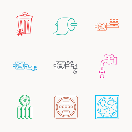 Ventilation, radiator and water counter icons. Toiler paper, gas and electricity counters linear signs. Trash icon. Linear colored icons.