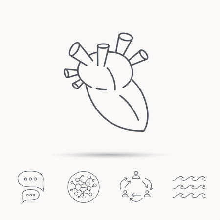 transplantation: Heart icon. Human organ sign. Surgical transplantation symbol. Global connect network, ocean wave and chat dialog icons. Teamwork symbol.