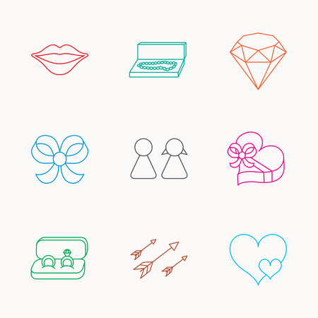 brilliant heart: Love heart, gift box and wedding rings icons. Kiss lips and couple linear signs. Valentine amour arrows, brilliant flat line icons. Linear colored icons.