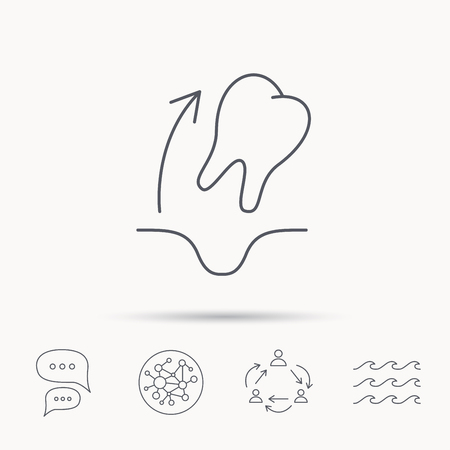 anesthesia: Tooth extraction icon. Dental paradontosis sign. Global connect network, ocean wave and chat dialog icons. Teamwork symbol. Illustration