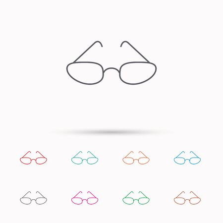 eyewear fashion: Glasses icon. Reading accessory sign. Linear icons on white background. Illustration
