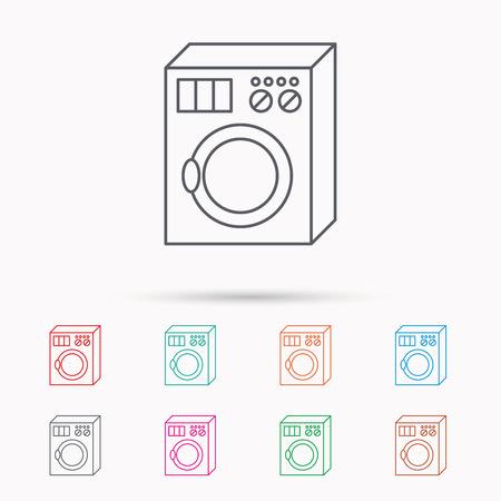 washer: Washing machine icon. Washer sign. Linear icons on white background. Illustration