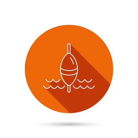 bobber: Fishing float icon. Fisherman bobber sign. Round orange web button with shadow.
