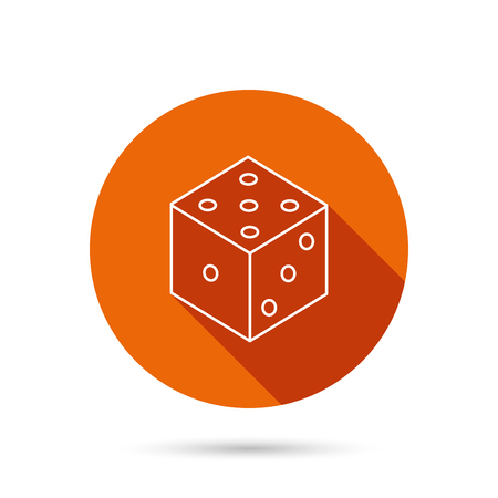 gaming: Dice icon. Casino gaming tool sign. Winner bet symbol. Round orange web button with shadow.