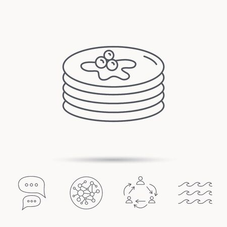 Pancakes icon. American breakfast sign. Food with maple syrup symbol. Global connect network, ocean wave and chat dialog icons. Teamwork symbol.