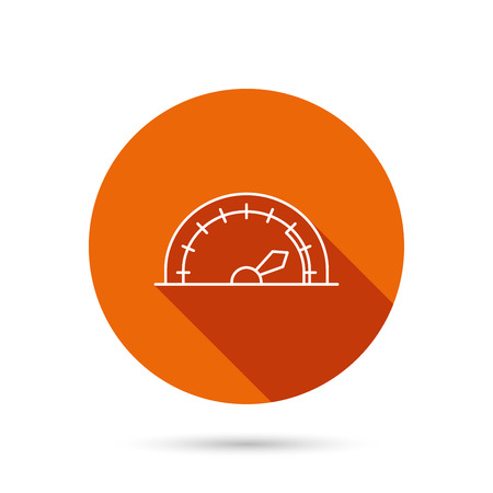 tachometer: Speedometer icon. Speed tachometer with arrow sign. Round orange web button with shadow. Illustration