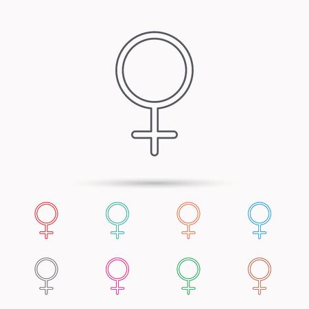 Vrouwelijk pictogram. Het geslachtsteken van vrouwen. Lineaire pictogrammen op witte achtergrond.