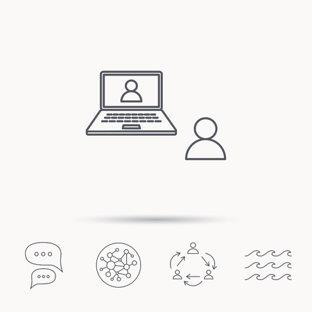 video chat: Video chat icon. Webcam chatting sign. Web conference symbol. Global connect network, ocean wave and chat dialog icons. Teamwork symbol. Illustration