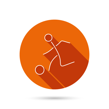 soccer sport: Football icon. Soccer sport sign. Team goal game symbol. Round orange web button with shadow.