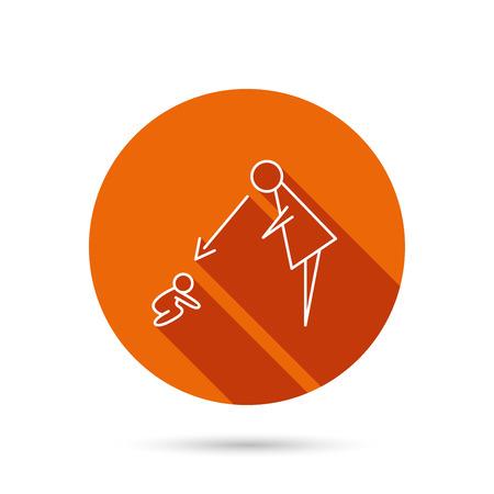 supervision: Bajo la supervisión icono de niñera. Muestra del cuidado de niñera. Observación de la madre al bebé símbolo. botón redondo anaranjado del Web con la sombra. Vectores