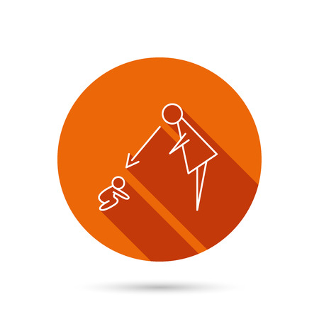 supervision: Under nanny supervision icon. Babysitting care sign. Mother watching baby symbol. Round orange web button with shadow. Illustration
