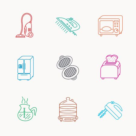 coffee blender: Microwave oven, coffee and blender icons. Refrigerator fridge, steamer and toaster linear signs. Vacuum cleaner, ironing and waffle-iron icons. Linear colored icons.