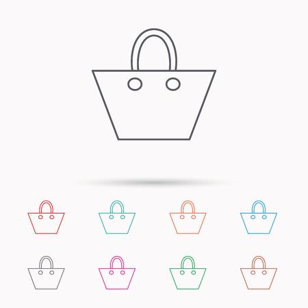 Damenhandtasche-Symbol. Eleganz Frauen Zubehör Zeichen. Linear-Symbole auf weißem Hintergrund.