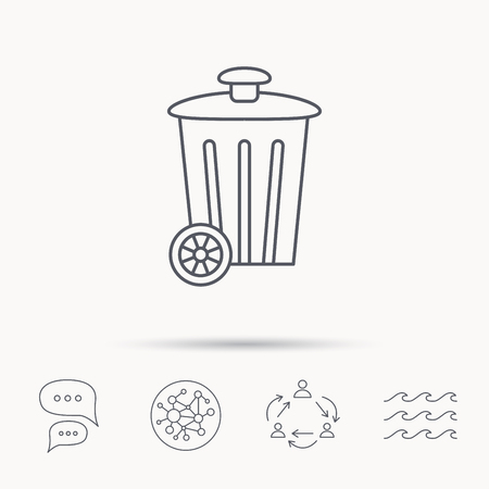 trash container: Recycle bin icon. Trash container sign. Street rubbish symbol. Global connect network, ocean wave and chat dialog icons. Teamwork symbol.
