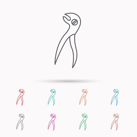 anesthesia: Dental pliers icon. Stomatological forceps tool sign. Linear icons on white background.