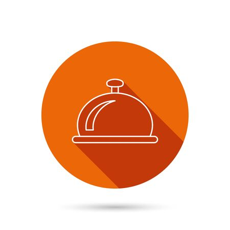 service bell: Reception bell icon. Hotel service sign. Round orange web button with shadow.