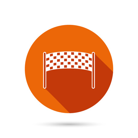 checkpoint: Finishing checkpoint icon. Marathon banner sign. Round orange web button with shadow.